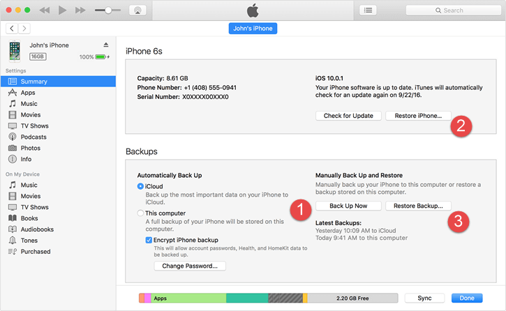 bckup restore iphone itunes