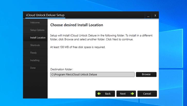 choose location install icloud unlock deluxe