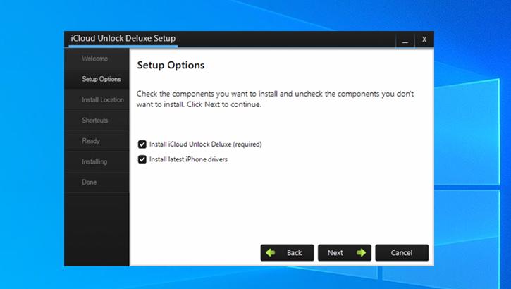 icloud unlock deluxe setup option