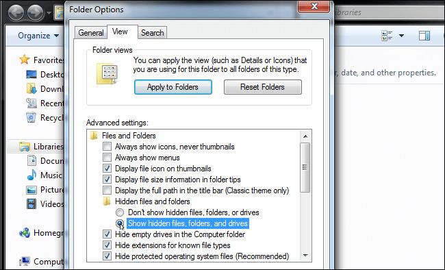 show hidden files windows 7