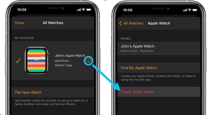 unpair apple watch on iphone
