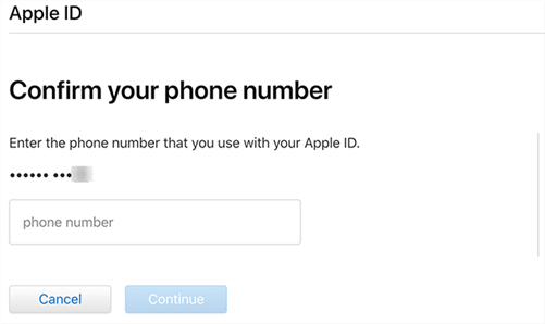 confirm phone number to reset apple id password