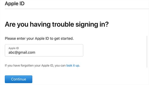 enter apple id to reset password
