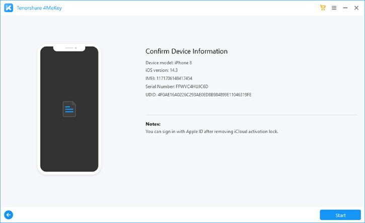 new 4mekey confirm device info