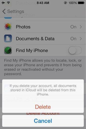 delete icloud account ios 7