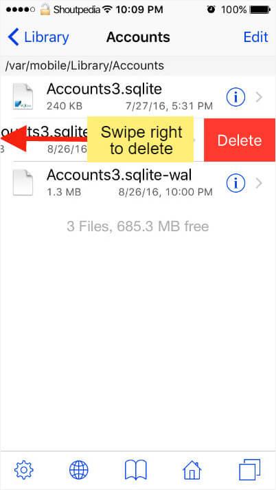 swipe right to delete