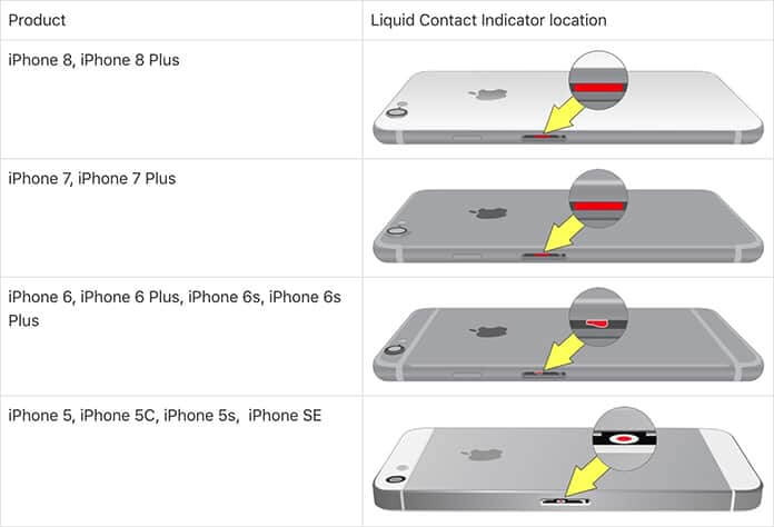 iphone water damage check