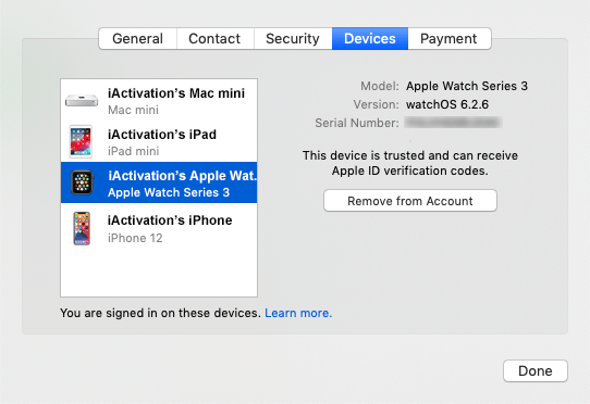 mac remove from account