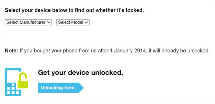 three unlock options