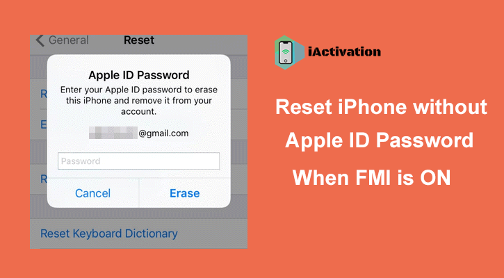 reset iphone without apple id password when fmi on