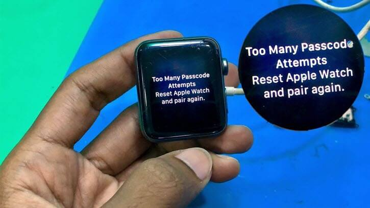 too many passcode attempts apple watch