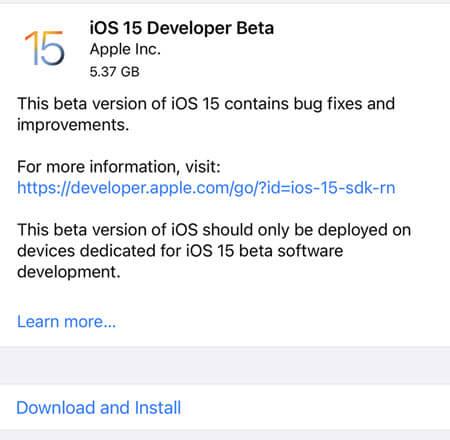 ios15 developer beta
