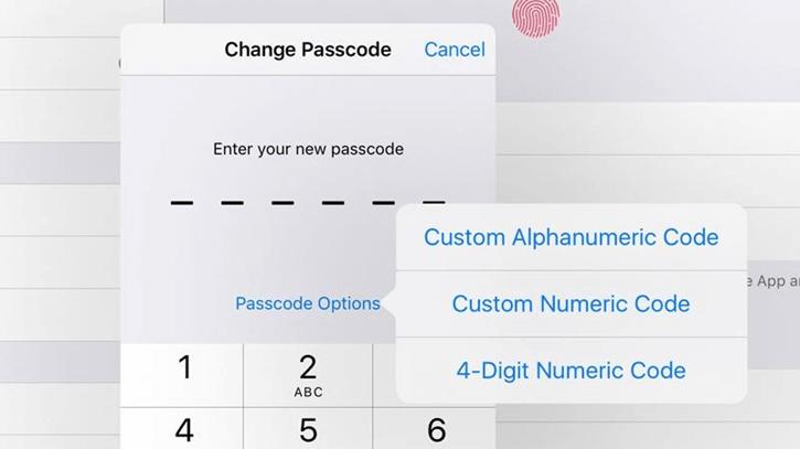 passcode option ios